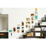 Stairs style wooden photo frames set