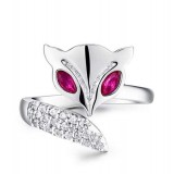 Sterling silver charming fire fox ring