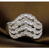 Sterling silver fashion waves ring