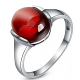 Sterling silver natural agate high-end women's ring
