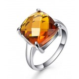 Sterling silver natural crystal women's ring