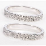 Sterling silver shining crystal couple rings