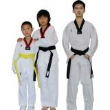 Striped white taekwondo clothes