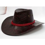 Summer leather cowboy hat