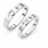 The footprints of love couples sterling silver ring