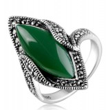 Titanium silver natural green agate fashion vampire's ring