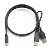 USB2.0 male * 2 to mini 5pin T-head / mobile hard disk box data cable 1 m