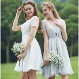 White + Gray bridesmaid dress