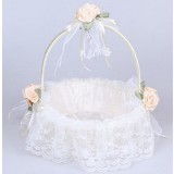 White lace flower girl baskets