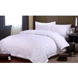White printed cotton 4pcs bedding sheet set for hotel