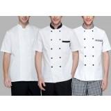 White short-sleeve chef clothing