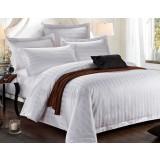 White striped cotton 4pcs bedding sheet set for hotel