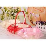 Wicker + lace Flower Girl Baskets