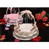 Wicker + Lace Round Flower Girl Baskets