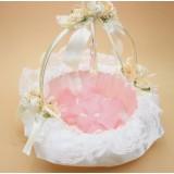 Wicker + Lace Round Wedding Flower Girl Baskets
