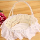 Wicker + silk cloth Oval Flower Girl Baskets