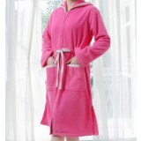 Woman's zipper type cotton bathrobe