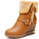 Woman winter thickening plush wedge snow boots