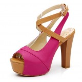 Women fish mouth waterproof coarse high heel sandals