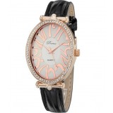 Women leather band rhinestone oval watch