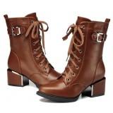 Women's cross straps + zipper Martin boots