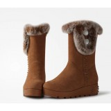 Women's rabbit fur buttons tube boots