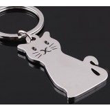 Zinc alloy cat keychain